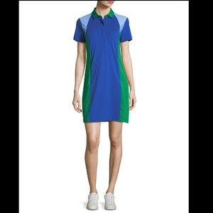 TORY SPORT Color-block Pique Polo Dress Green Blue